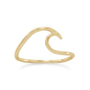 14K Gold Over Sterling Silver Wave Ring