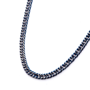 "22"" Ip Blue Stainless Steel Curb Chain Necklace"