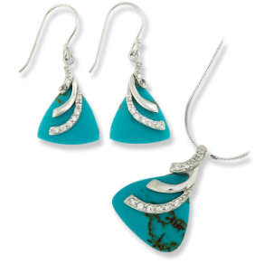 Sterling Silver, Imitation Turquoise, and CZ Earrings & Necklace Set