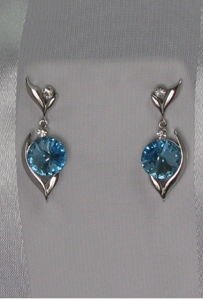 Swarovski Topaz Blue Crystal Dangling Post Back Earrings