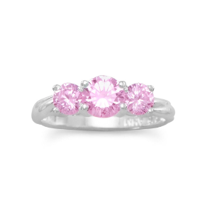 Sterling Silver and Pink CZ 3 Stone Ring