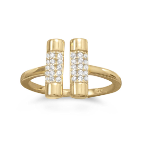14K Gold Over Sterling Silver and CZ Double Bar (Dumbbell) Ring