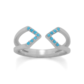 Sterling Silver & Nano Turquoise CZ Split Band Open Arrow Ring
