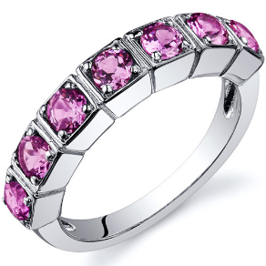 Sterling Silver and Lab Created Pink Sapphire Ring