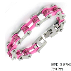 "7"" Stainless Steel Pink and Silver Motorcycle Chain Bracelet w/ Crystals"