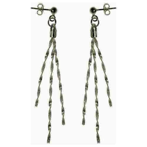 Twisted 3 Strand Sterling Silver Magic Chain  Dangling Earring