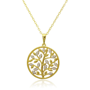 Gold Over Sterling Silver and CZ Floral Pendant & Chain