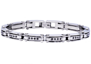 "8.75"" Stainless Steel Bracelet with 40 Hand Set Black CZs"
