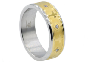 Stainless Steel PVD  Gold and CZ Ring