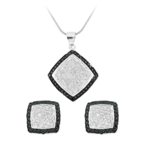 Sterling Silver Black & White CZ Pendant and Earring Set