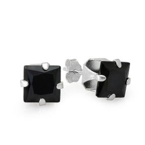 Sterling Silver & Princess Cut Black CZ Earrings