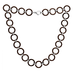 "19"" Chocolate Mocha Ceramic Circle Necklace with Stainless Steel Links"