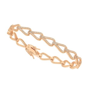 "7.5"" Rose Gold Over Sterling Silver and CZ Bracelet"