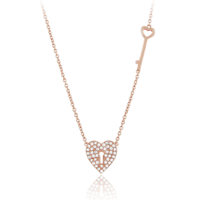 "16+2"" Rose Gold Vermeil CZ Heart Shaped Lock and Key Necklace"