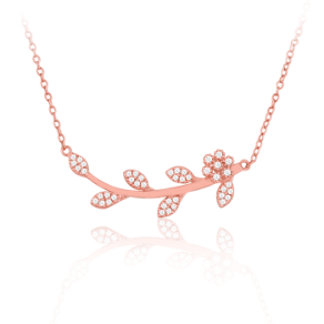 "16+3"" Rose Gold Vermeil and CZ Flower & Vine Necklace"