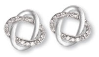 Sterling Silver and CZ Interlocking Oval Post Back Earrings