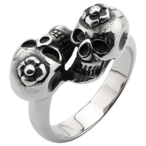 Inox Black Oxidized Stainless Steel Twin Skull with Flower Ring