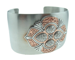 Wide Stainless Steel Cuff Bangle Bracelet w/ Rose Gold Accents and CZs