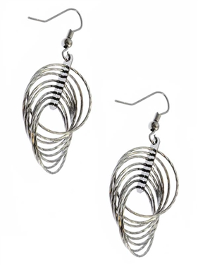 Dangling Circle Hematite French Wire Earrings
