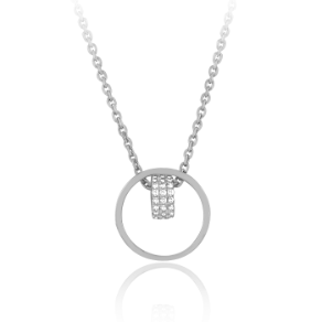 "17+1"" Sterling Silver and CZ Circle and Bead Necklace"