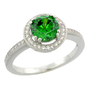 Sterling Silver, Emerald Green and Clear CZ Halo Ring