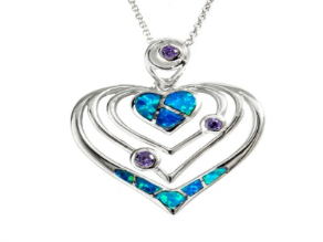 4 Wavy Sterling Silver Heart Pendant with Lab Created Opals and Amethyst CZ