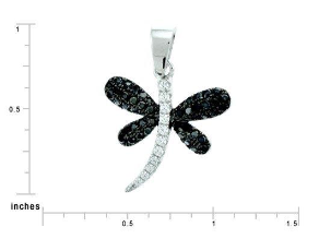Sterling Silver  and Black and Clear CZ Dragonfly Pendant