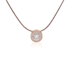 b.tiff Rose Gold Stainless Steel Halo Pendant & Chain