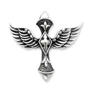 Sterling Silver Gothic Winged Cross