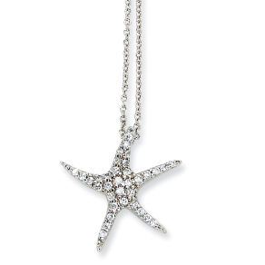 Sterling Silver and CZ Starfish Pendant and Chain