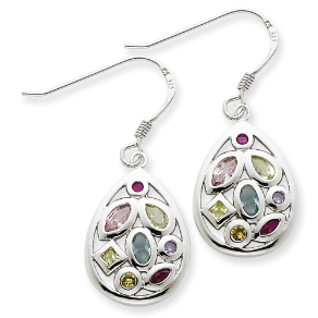 Sterling Silver Multi-colored CZ Dangling French Wire Earrings