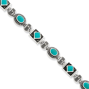 Sterling Silver Marcasite and Turquoise Bracelet