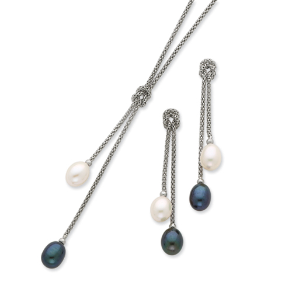 Sterling Silver Knot Necklace & Earring Set w/ Freshwater Pearls