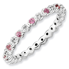 Sterling Silver Pink Tourmaline&Diamond Stackable,Eternity,Wedding Ring