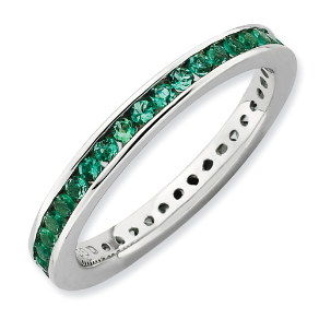 Sterling Silver & Lab Created Emerald Stackable/Wedding/Eternity Ring