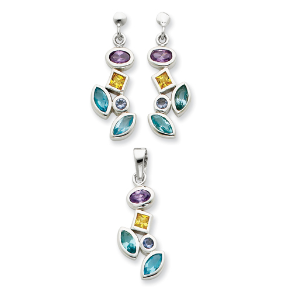 Sterling Silver Multicolored CZ Pendant and Earring Set