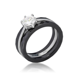 Sterling Silver, Black Ceramic, and CZ  3 Piece Wedding Ring Set
