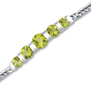 "7.25"" Sterling Silver Genuine Peridot 5 Stone Necklace"