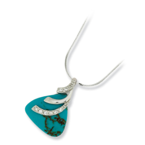 Sterling Silver, Imitation Turquoise, and CZ Triangle Shaped Pendant