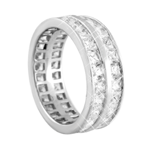 Sterling Silver and CZ Double Band Eternity / Wedding Ring