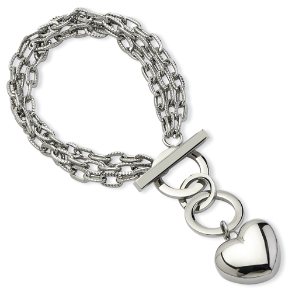 "7"" Inox Designer Inspired Stainless Steel Puffy Heart Toggle Bracelet"