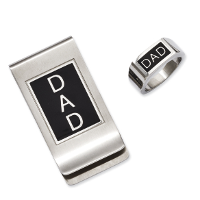 Stainless Steel and Black Enamel Money Clip and Ring Set