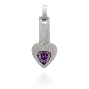 Stainless Steel and Amethyst Heart Pendant and Chain