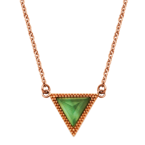 Ip Rose Gold Stainless Steel & Syn Green Cat's Eye Triangle Necklace