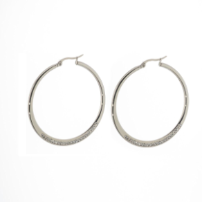 45mm Steelx Stainless Steel Gradual Flat Hoop Earrings w/ Crystals