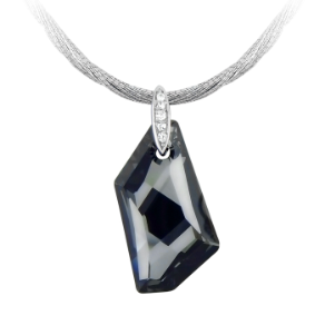 Sterling Silver and Faceted Black Crystal Pendant and Chain
