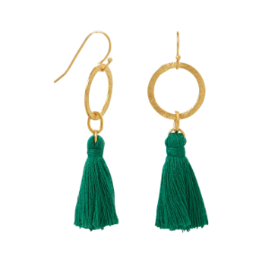 Gold Tone Green Threaded Tassel French Wire Earrings