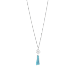 "30"" Silver Tone Aqua Tassel Necklace with Celtic Charm"