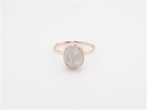 Rose Gold over Sterling Silver White Oval  Druzy Gemstone Ring