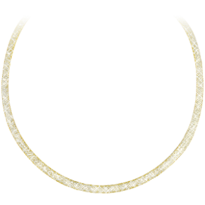 "16"" Simulated Diamond Gold Mesh Necklace"